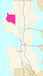 Map of Ballard's location in Seattle
