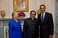 Secretary Clinton, Indian Minister of External Affairs S.M. Krishna, and President Obama Pose for Photo.jpg