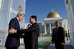 Secretary Kerry Shakes Hands With President Berdimuhamedov at the Oguzkhan Presidential Palace in Ashgabat, Turkmenistan (22560089650).jpg