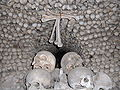 Sedlec Ossuary closeup of bone pyramid 3.JPG