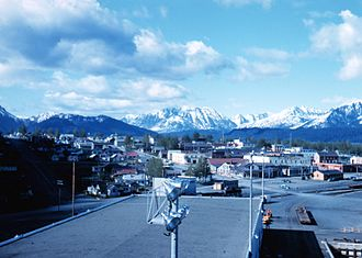 Seward Highway - The southern terminus of the Seward Highway in 1959, as seen from aboard a ship docked at the Seward Harbor (which was moved following the 1964 earthquake).