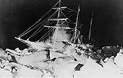The Endurance at night during Ernest Shackleton's Imperial Trans-Antarctic Expedition in 1914.