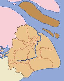 Shanghai byprovins med chongming fylke i mørkebrunt. chongmingøya er