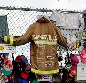 Shanksville Volunteer Fire Department - Shanksville Volunteer Firefighter Coat at the Flight 93 temporary national memorial.