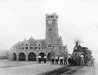 Shawnee, Oklahoma - Santa Fe depot in Shawnee, circa 1890-1900