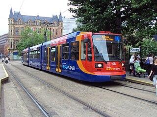 Sheffield Supertram light rail tramway in Sheffield, England