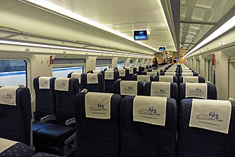 Interior view of a high speed bullet train, manufactured in China Shenzhen Guangzhou high speed train new rolling stock China (37116926035).jpg