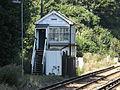 Shepherds Well railway station, Signal box, EG03, August 2013.JPG