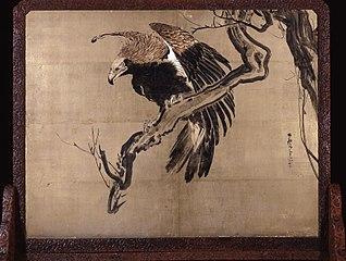 Carp in Waves (Zeshin) and Eagle on a Branch (Rosetsu reverse)