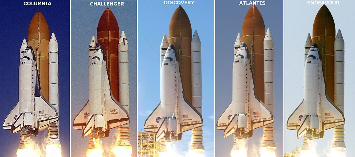 Shuttle launch profiles. From left to right: Columbia, Challenger, Discovery, Atlantis, and Endeavour. Shuttle profiles.jpg