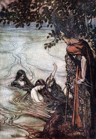 "Götterdämmerung - ""The Rhinemaidens warn Siegfried"" (Arthur Rackham, 1912)"