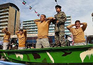 2016 U.S.–Iran naval incident - Simulation of the arrest of American sailors involved in the 2016 U.S.–Iran naval incident, on the 38th anniversary of the Iranian Islamic Revolution.