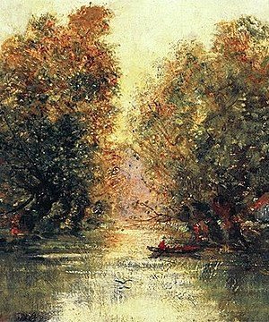 Tom Keating - River landscape in the Porczyński Gallery in Warsaw, signed as Alfred Sisley, is claimed to be Keating's forgery