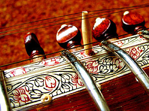 "Sitar -  Close-up of the pen work on a ""Ravi Shankar style"" sitar"