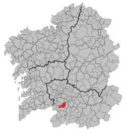 Situation of Celanova within Galicia