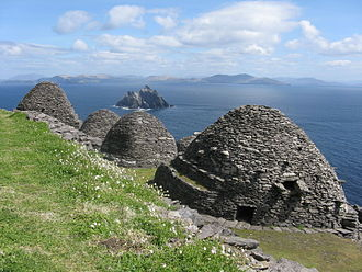 Kingdom of Munster - Skellig Michael off the coast of the Iveragh Peninsula. An isolated Christian monastery was founded here by St. Finnian of Clonard in the 6th century.