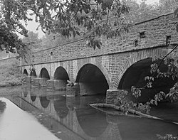 Skippack Stone Arch Bridge, Spanning Skippack Creek at Germantown Pike, Skippack (Montgomery County, Pennsylvania).jpg