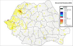 Slovaks of Romania - Distribution of Slovaks in Romania (2002 census)