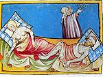 Illustration de la Peste noire tirée de la Bible de Toggenburg (1411).