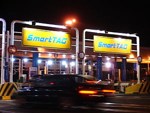 SmartTAG - A typical entrance of SmartTAG lanes on Malaysian expressways.