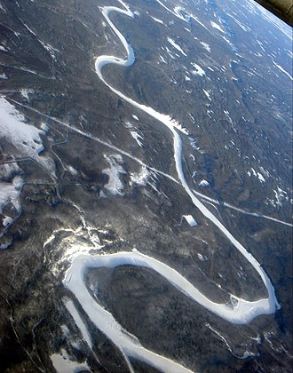 Smoky River - Frozen Smoky River south-east of Grande Prairie