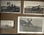 Snapshots of men and aircraft at Camp Mohawk, one of the Royal Flying Corps' pilot training camps near Deseronto, Ontario. The crashed aircraft bottom right is on a corner of a hangar building. (6079344479).jpg