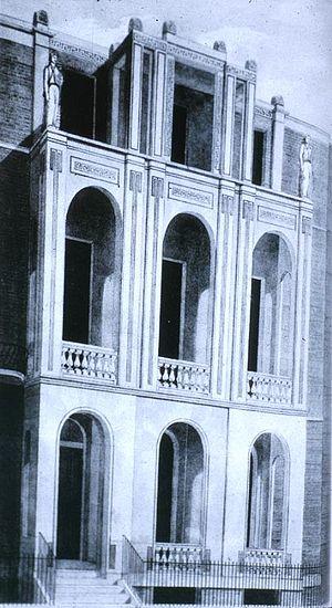 Sir John Soane's Museum - The facade of Sir John Soane's House (No. 13) circa 1812. The loggias were later glazed.