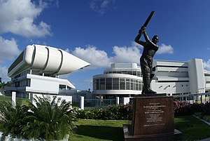 Barbados national cricket team - The exterior of Kensington Oval, Bridgetown, features a statue of Sir Garfield Sobers, who has scored more Test runs than any other Barbadian.