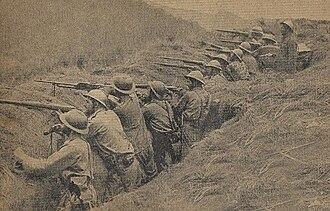 Constitutionalist Revolution - Image: Soldados paulista em trincheira em Silveiras, 1932