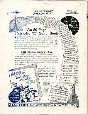 """Music of World War I - 1917 advertisement for """"An 80 page pocket-size patriotic song book"""""""