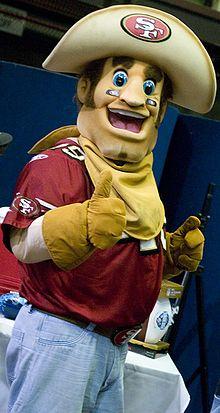 47bd766af Sourdough Sam in February 2009. Sourdough Sam is a mascot for the NFL s San  Francisco 49ers.