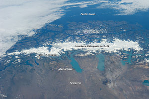 Glacier morphology - Southern Patagonia Ice Field from ISS, astronaut photo. North is to the right.