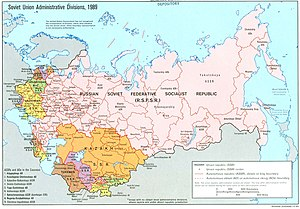 Soviet Union administrative divisions, 1989