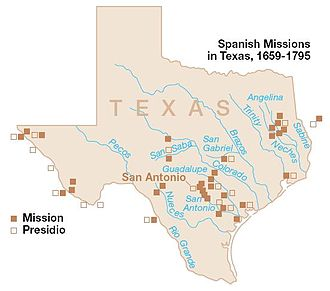Spanish Texas - Spanish missions within the boundaries of what is now the state of Texas