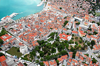 Dalmatia - The ancient core of the city of Split, the largest city in Dalmatia, built in and around the Palace of the Emperor Diocletian