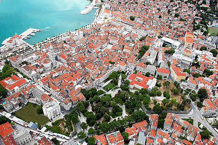 The Palace of the Emperor Diocletian in Split Split center from the air 1.jpg