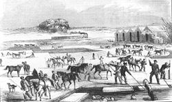 یخ on Spy Pond, from an 1854 Print.