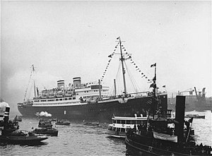 SS St. Louis surrounded by smaller vessels in its home port of Hamburg