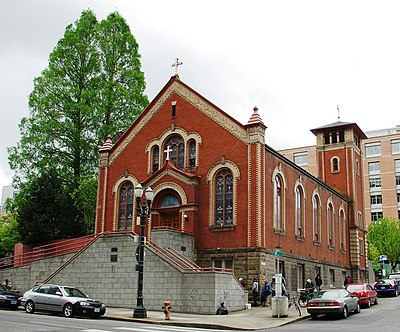 St. Michael the Archangel Church; of the 35% of religiously affiliated Portland residents, Roman Catholics make up the largest group. St Michael the Archangel Church front - Portland, Oregon.JPG