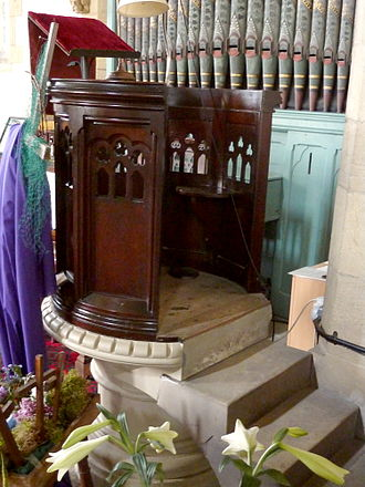 Pulpit - 1870 American Gothic Revival oak pulpit, Church of St Thomas, Thurstonland