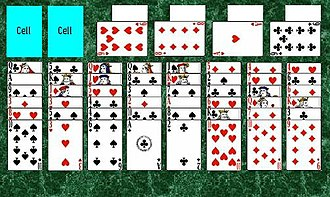 Stalactites (solitaire) - The initial layout of a game of Stalactites.