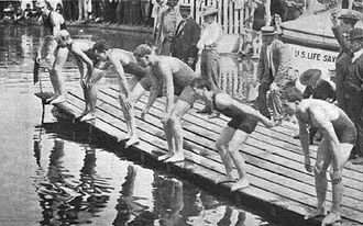 Swimming at the 1904 Summer Olympics – Men's 100 yard freestyle - Image: Start of 100 yards swimming during 1904 Summer Olympics