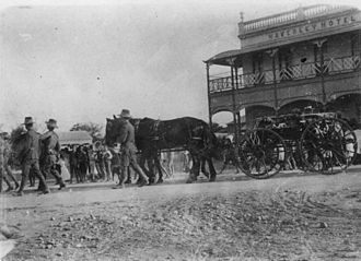 Charters Towers - Funeral cortege passing the Waverley Hotel, ca. 1906