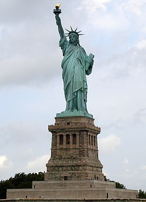 Verdigris - The Statue of Liberty, showing advanced oxidization