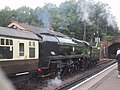 Steam train in Bishops Lydeard station - geograph.org.uk - 1398355.jpg