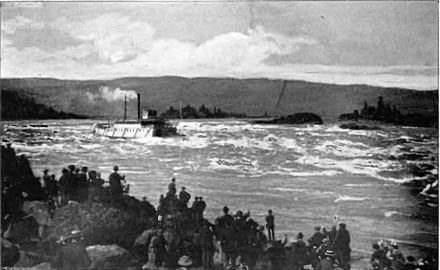 The sternwheeler Hassalo runs the Cascades Rapids, May 26, 1888. The rapids are now submerged under the pool of the Bonneville Dam. Steamboat Hassalo running Cascades.jpg