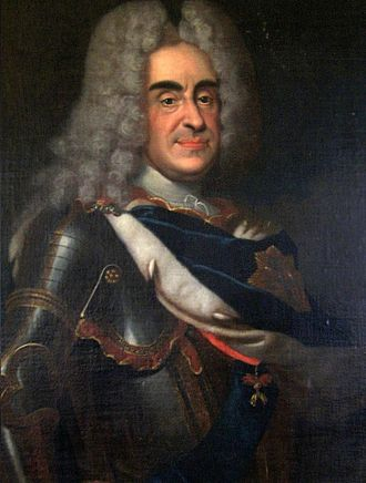 Augustus II the Strong - Augustus depicted in armor and ermine coat donned with the Order of the White Eagle, and the Order of the Golden Fleece; Stolpen castle