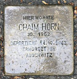 Photo of Chaim Horn brass plaque