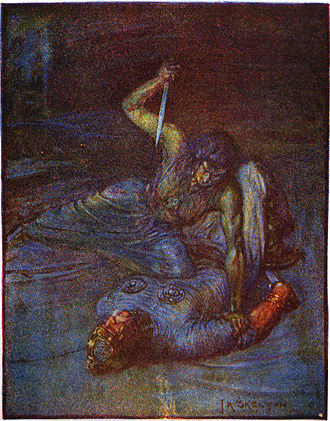 "Grendel's mother - An illustration of Grendel's mother by J.R. Skelton from Stories of Beowulf (1908) described as a ""water witch"" trying to stab Beowulf."