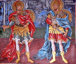Theodore the Martyr - Saints Theodore Tyron and Theodore Stratelates in a fresco from Rila Monastery, Bulgaria